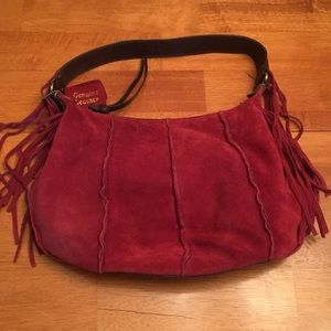 NWT Red suede Leather patchwork bag w/ fringe
